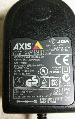 NEW 9V 1A AC Adapter For AXIS PS-K PSK ART NO 26669 Model NO SA110D-09 Switching Power Supply Charger